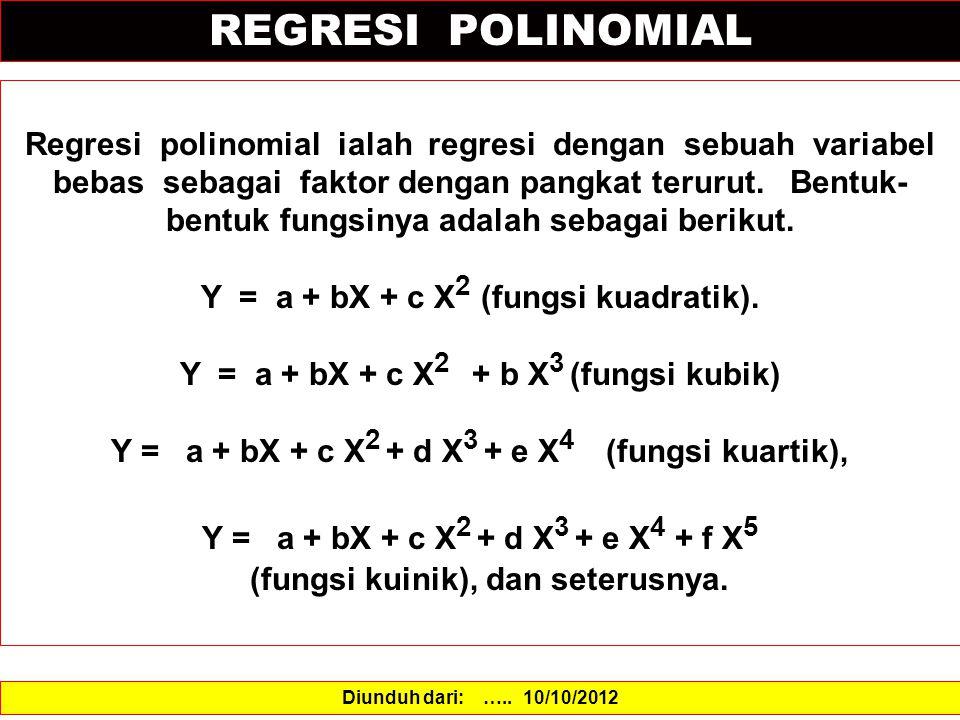 REGRESI POLINOMIAL Regresi polinomial ialah regresi dengan sebuah variabel bebas sebagai faktor dengan pangkat terurut.