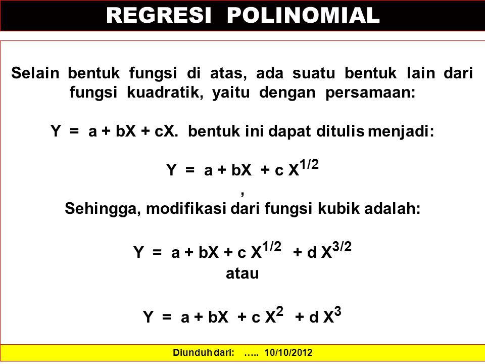 REGRESI POLINOMIAL Selain bentuk fungsi di atas, ada suatu bentuk lain dari fungsi kuadratik, yaitu dengan persamaan: Y = a + bX + cX.