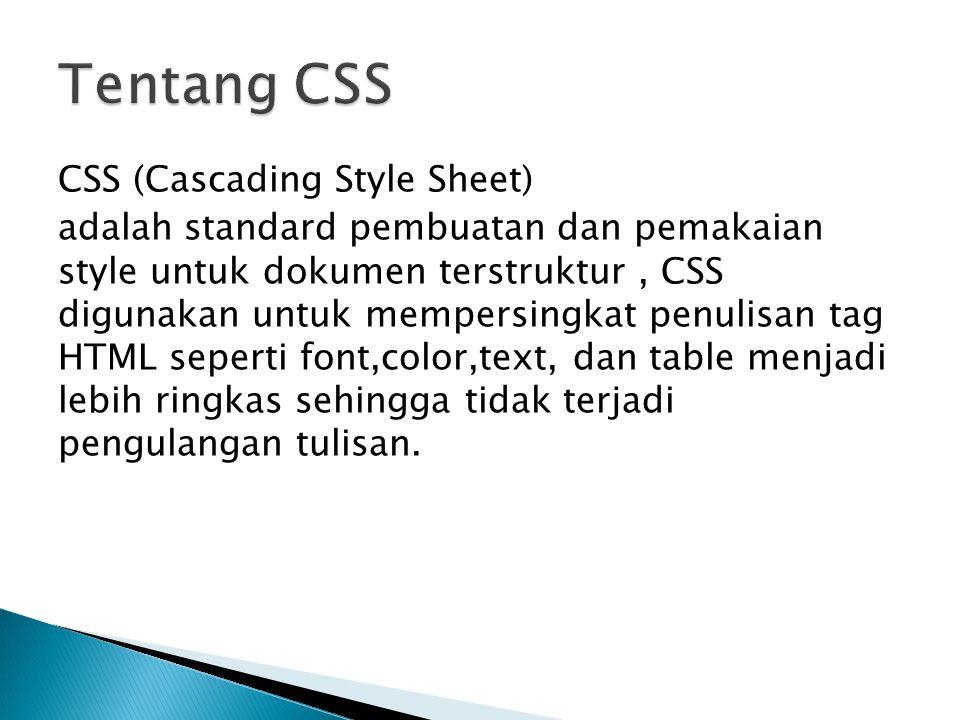CSS (Cascading Style Sheet) adalah standard pembuatan dan pemakaian style untuk dokumen terstruktur, CSS digunakan untuk mempersingkat penulisan tag H