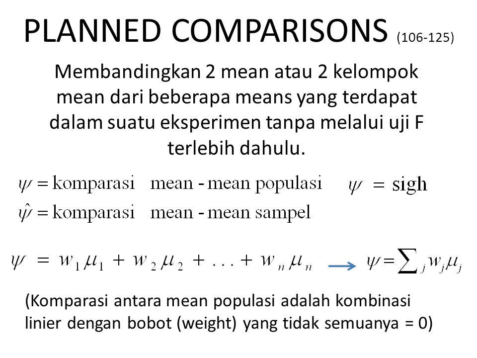 PLANNED COMPARISONS (106-125) Membandingkan 2 mean atau 2 kelompok mean dari beberapa means yang terdapat dalam suatu eksperimen tanpa melalui uji F terlebih dahulu.