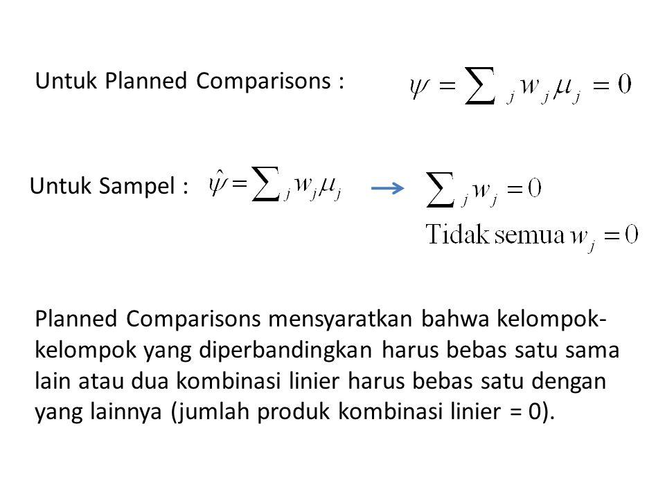 Untuk Planned Comparisons : Untuk Sampel : Planned Comparisons mensyaratkan bahwa kelompok- kelompok yang diperbandingkan harus bebas satu sama lain atau dua kombinasi linier harus bebas satu dengan yang lainnya (jumlah produk kombinasi linier = 0).