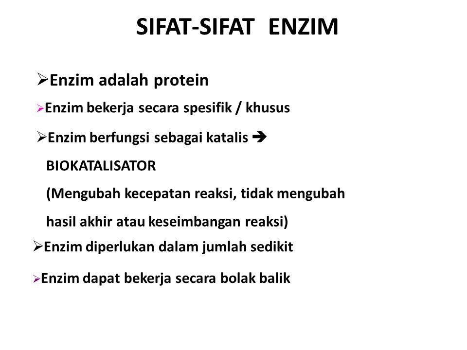 ENZIM Enzim adalah satu atau beberapa gugus polipeptida (protein) yang berfungsi sebagai katalis (senyawa yang mempercepat proses reaksi tanpa habis bereaksi) dalam suatu reaksi kimia.