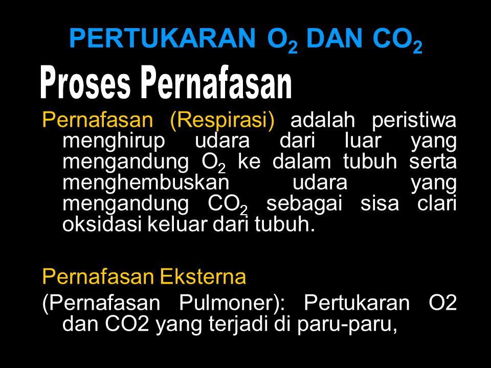 PERTUKARAN O 2 DAN CO 2 Pernafasan (Respirasi) adalah peristiwa menghirup udara dari luar yang mengandung O 2 ke dalam tubuh serta menghembuskan udara yang mengandung CO 2 sebagai sisa clari oksidasi keluar dari tubuh.