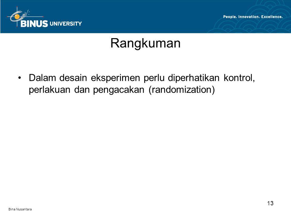 Bina Nusantara Dalam desain eksperimen perlu diperhatikan kontrol, perlakuan dan pengacakan (randomization) Rangkuman 13