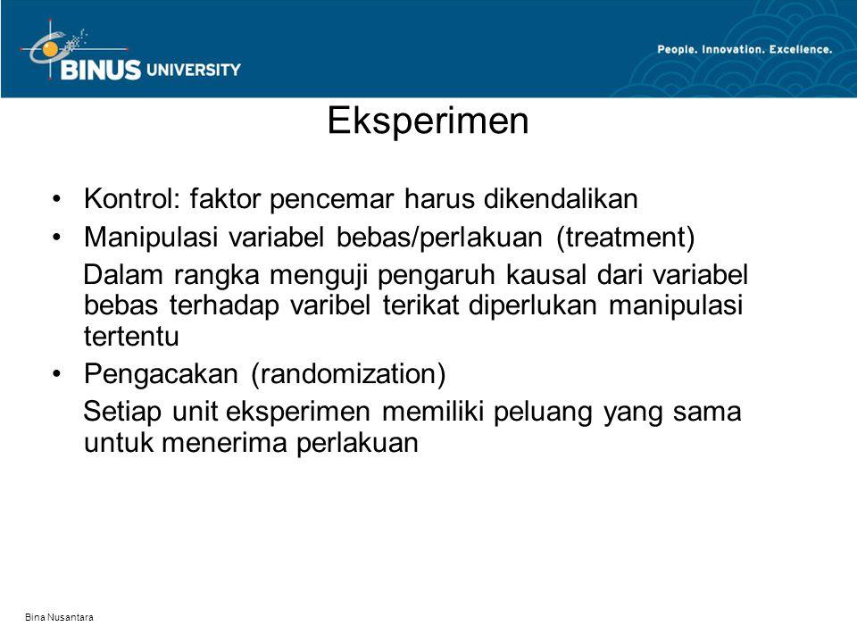 Bina Nusantara Eksperimen Kontrol: faktor pencemar harus dikendalikan Manipulasi variabel bebas/perlakuan (treatment) Dalam rangka menguji pengaruh ka