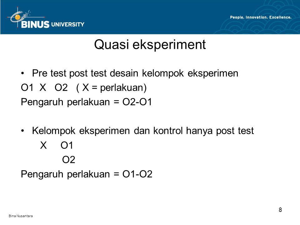 Bina Nusantara Pre test post test desain kelompok eksperimen O1 X O2 ( X = perlakuan) Pengaruh perlakuan = O2-O1 Kelompok eksperimen dan kontrol hanya