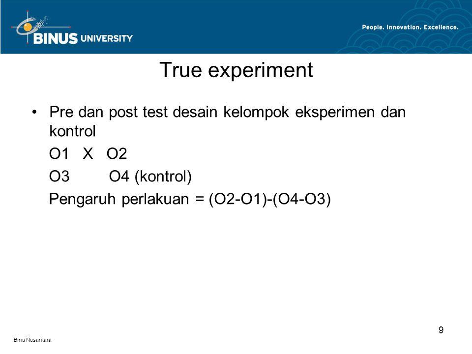 Bina Nusantara Solomon four group O1 X O2 O3 O4 (kontrol) X O5 O6 (kontrol) Pengaruh perlakuan : O2 -O1, O2-O4, O5-O6, O5-O3 (O2-O1)-(O4-O3) Desain eksperimen solomon menjamin validitas internal maksimum True experiment 10