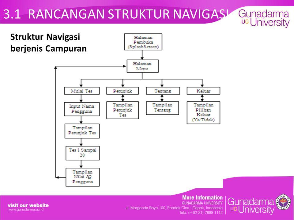 3.1 RANCANGAN STRUKTUR NAVIGASI Struktur Navigasi berjenis Campuran