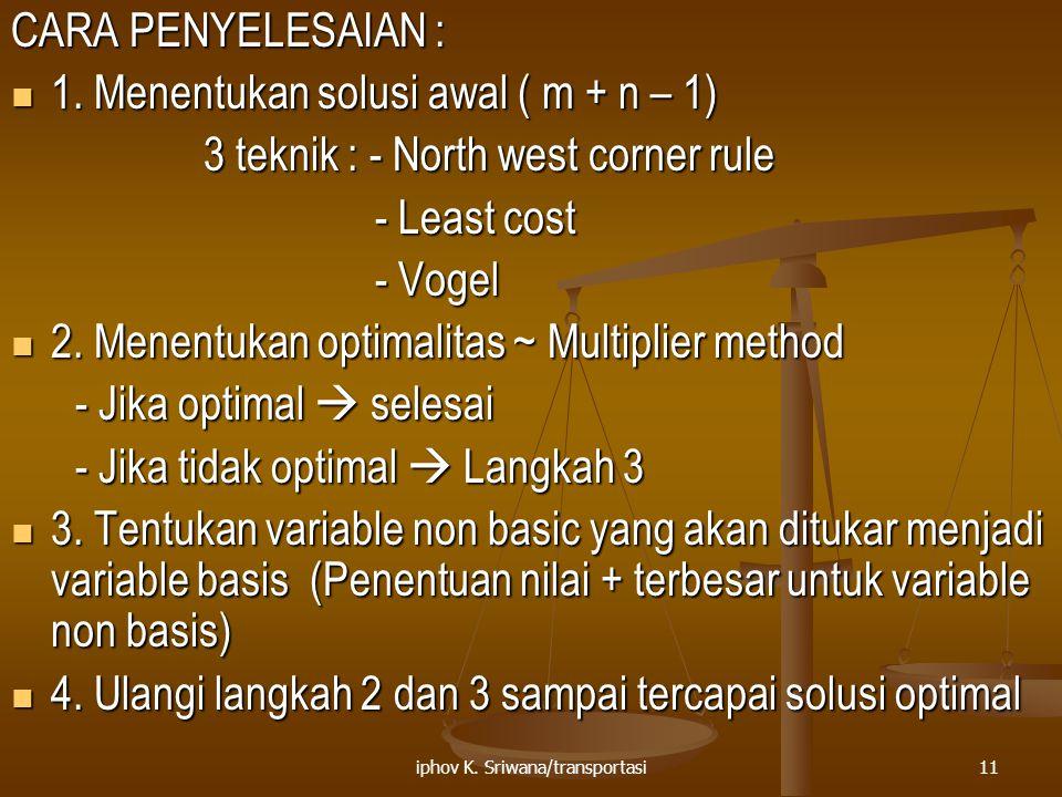iphov K. Sriwana/transportasi11 CARA PENYELESAIAN : 1. Menentukan solusi awal ( m + n – 1) 1. Menentukan solusi awal ( m + n – 1) 3 teknik : - North w