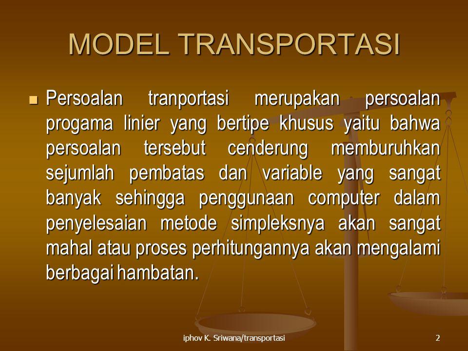 iphov K. Sriwana/transportasi2 MODEL TRANSPORTASI Persoalan tranportasi merupakan persoalan progama linier yang bertipe khusus yaitu bahwa persoalan t