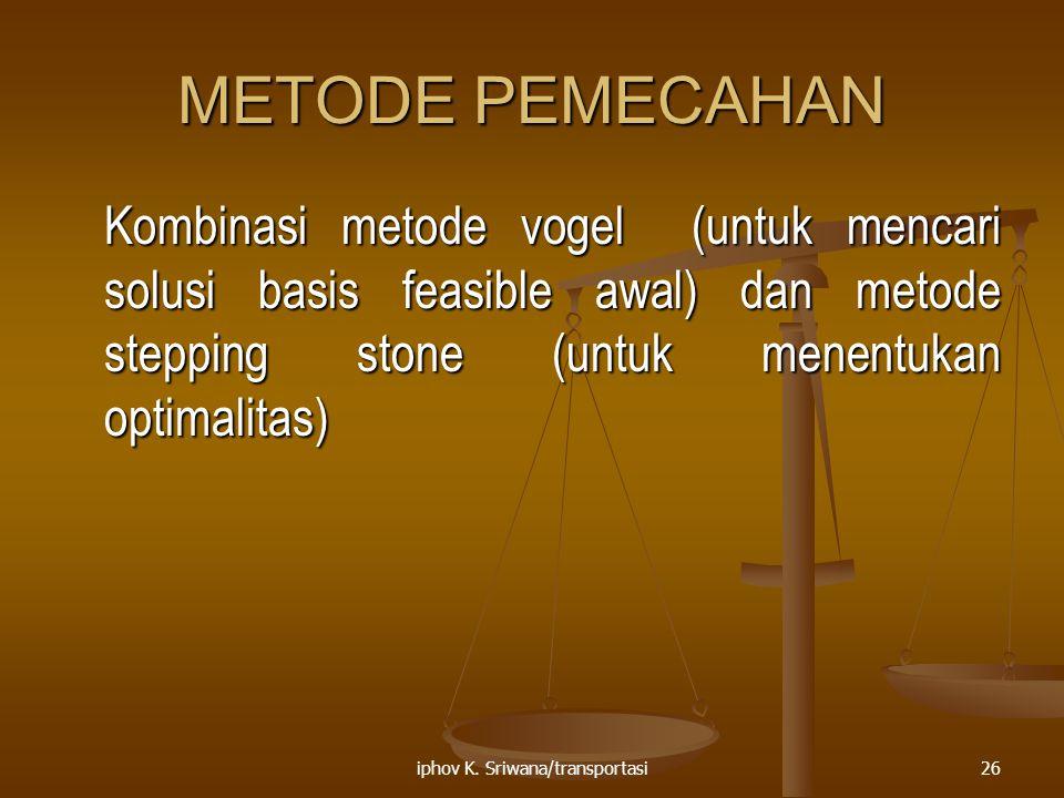 iphov K. Sriwana/transportasi26 METODE PEMECAHAN Kombinasi metode vogel (untuk mencari solusi basis feasible awal) dan metode stepping stone (untuk me