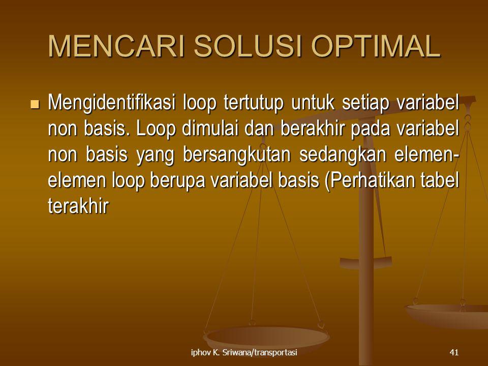iphov K. Sriwana/transportasi41 MENCARI SOLUSI OPTIMAL Mengidentifikasi loop tertutup untuk setiap variabel non basis. Loop dimulai dan berakhir pada