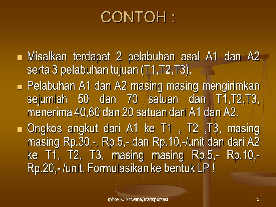 iphov K. Sriwana/transportasi5 CONTOH : Misalkan terdapat 2 pelabuhan asal A1 dan A2 serta 3 pelabuhan tujuan (T1,T2,T3). Misalkan terdapat 2 pelabuha