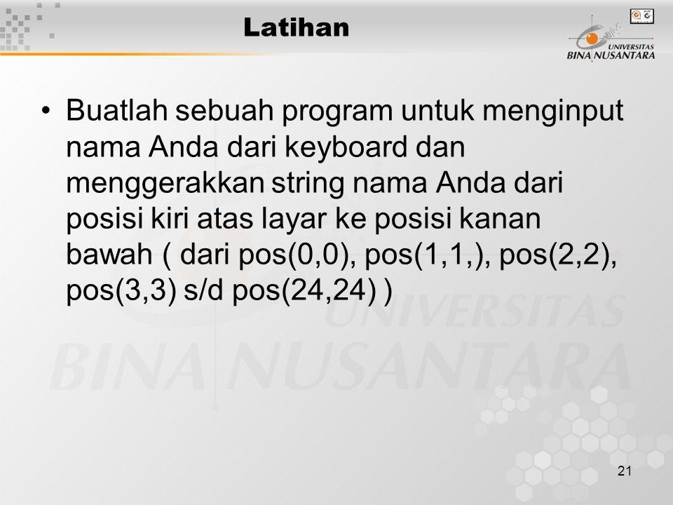 22 Latihan Jelaskan apakah output program berikut .