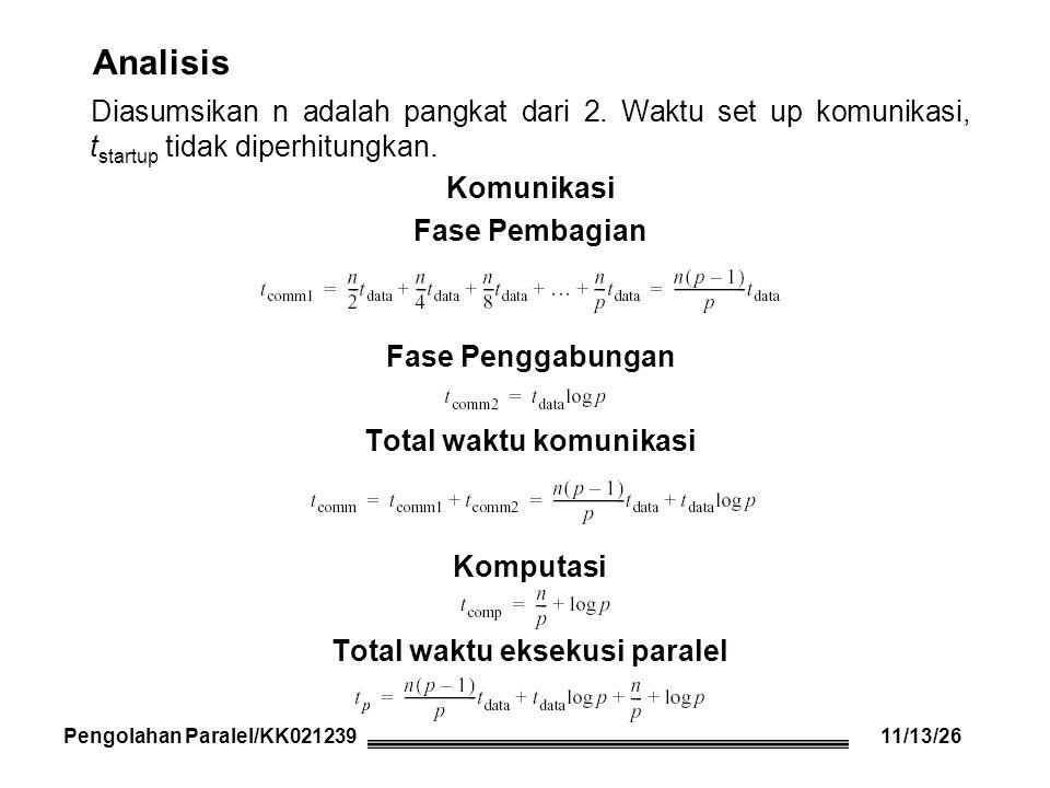 Analisis Diasumsikan n adalah pangkat dari 2. Waktu set up komunikasi, t startup tidak diperhitungkan. Komunikasi Fase Pembagian Fase Penggabungan Tot
