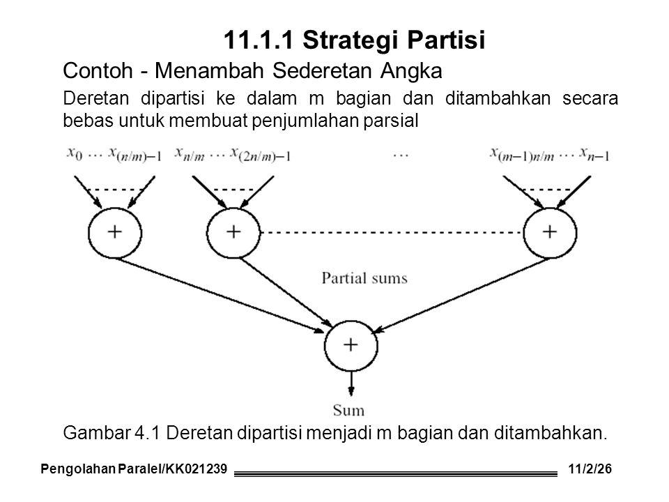Menggunakan send( ) s dan recv( ) s Master s = n/m; /* number of numbers for slaves*/ for (i = 0, x = 0; i < m; i++, x = x + s) send(&numbers[x], s, P i ); /* send s numbers to slave */ sum = 0; for (i = 0; i < m; i++) { /* wait for results from slaves */ recv(&part_sum, P ANY ); sum = sum + part_sum; /* accumulate partial sums */ } Slave recv(numbers, s, P master ); /* receive s numbers from master */ part_sum = 0; for (i = 0; i < s; i++) /* add numbers */ part_sum = part_sum + numbers[i]; send(&part_sum, P master ); /* send sum to master */ Pengolahan Paralel/KK021239 11/3/26