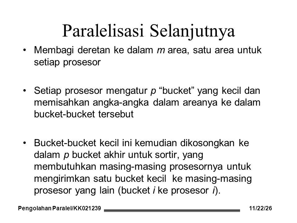 Paralelisasi Selanjutnya Membagi deretan ke dalam m area, satu area untuk setiap prosesor Setiap prosesor mengatur p bucket yang kecil dan memisahkan angka-angka dalam areanya ke dalam bucket-bucket tersebut Bucket-bucket kecil ini kemudian dikosongkan ke dalam p bucket akhir untuk sortir, yang membutuhkan masing-masing prosesornya untuk mengirimkan satu bucket kecil ke masing-masing prosesor yang lain (bucket i ke prosesor i).