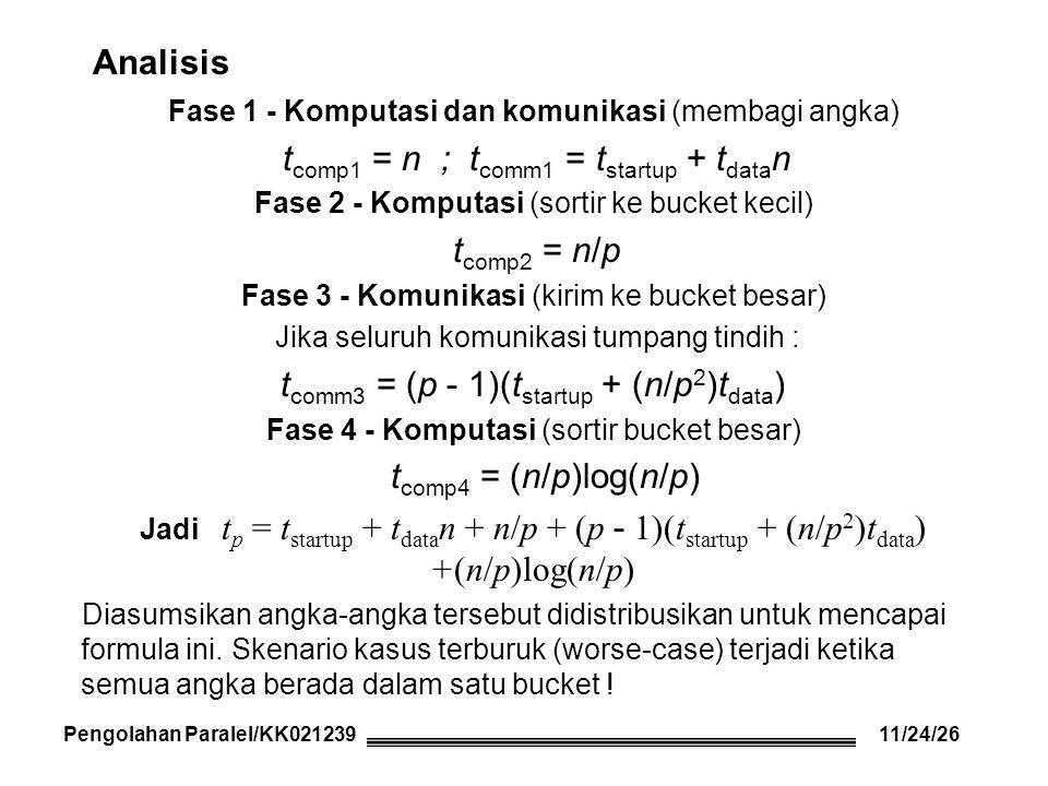 Analisis Fase 1 - Komputasi dan komunikasi (membagi angka) t comp1 = n ; t comm1 = t startup + t data n Fase 2 - Komputasi (sortir ke bucket kecil) t