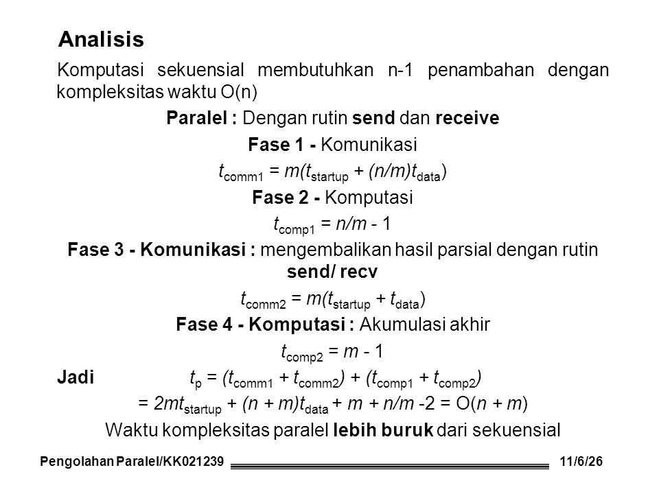 Analisis Komputasi sekuensial membutuhkan n-1 penambahan dengan kompleksitas waktu O(n) Paralel : Dengan rutin send dan receive Fase 1 - Komunikasi t comm1 = m(t startup + (n/m)t data ) Fase 2 - Komputasi t comp1 = n/m - 1 Fase 3 - Komunikasi : mengembalikan hasil parsial dengan rutin send/ recv t comm2 = m(t startup + t data ) Fase 4 - Komputasi : Akumulasi akhir t comp2 = m - 1 Jadi t p = (t comm1 + t comm2 ) + (t comp1 + t comp2 ) = 2mt startup + (n + m)t data + m + n/m -2 = O(n + m) Waktu kompleksitas paralel lebih buruk dari sekuensial Pengolahan Paralel/KK021239 11/6/26