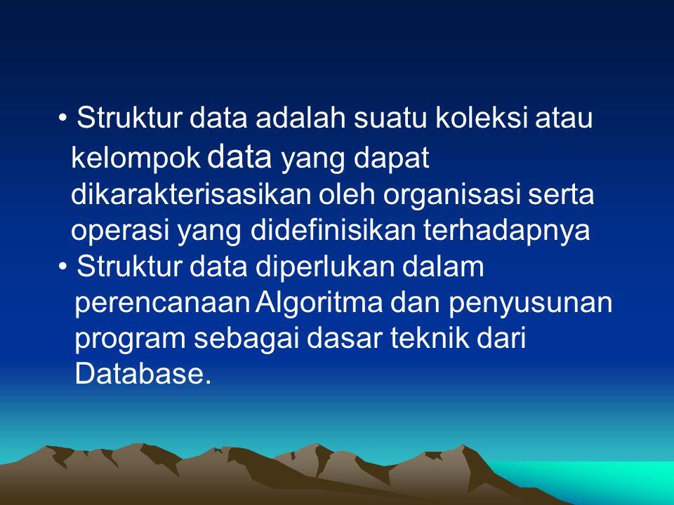 Struktur data adalah suatu koleksi atau kelompok data yang dapat dikarakterisasikan oleh organisasi serta operasi yang didefinisikan terhadapnya Struk