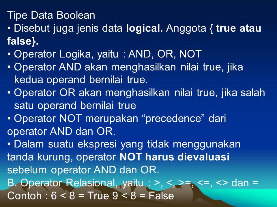 Tipe Data Boolean Disebut juga jenis data logical. Anggota { true atau false}. Operator Logika, yaitu : AND, OR, NOT Operator AND akan menghasilkan ni