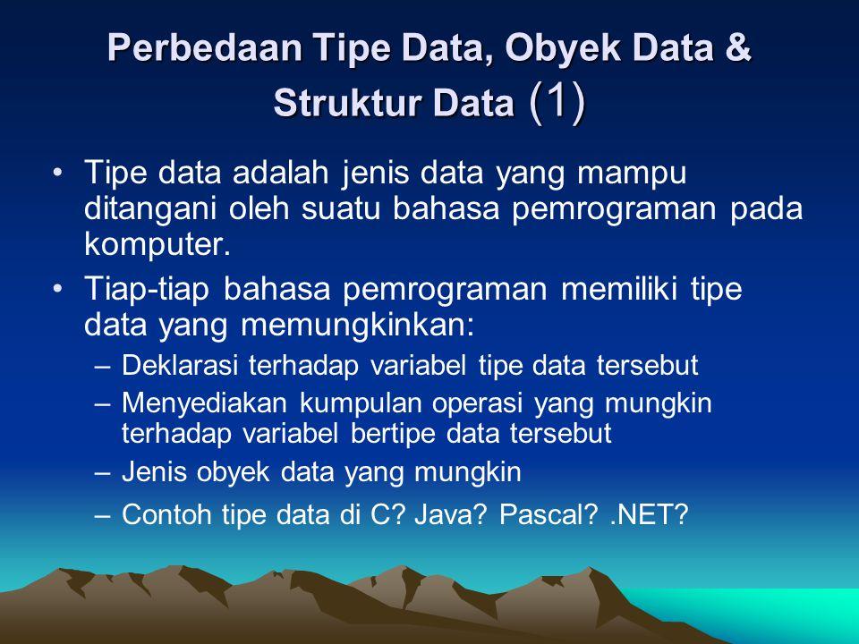 Perbedaan Tipe Data, Obyek Data & Struktur Data (1) Tipe data adalah jenis data yang mampu ditangani oleh suatu bahasa pemrograman pada komputer. Tiap