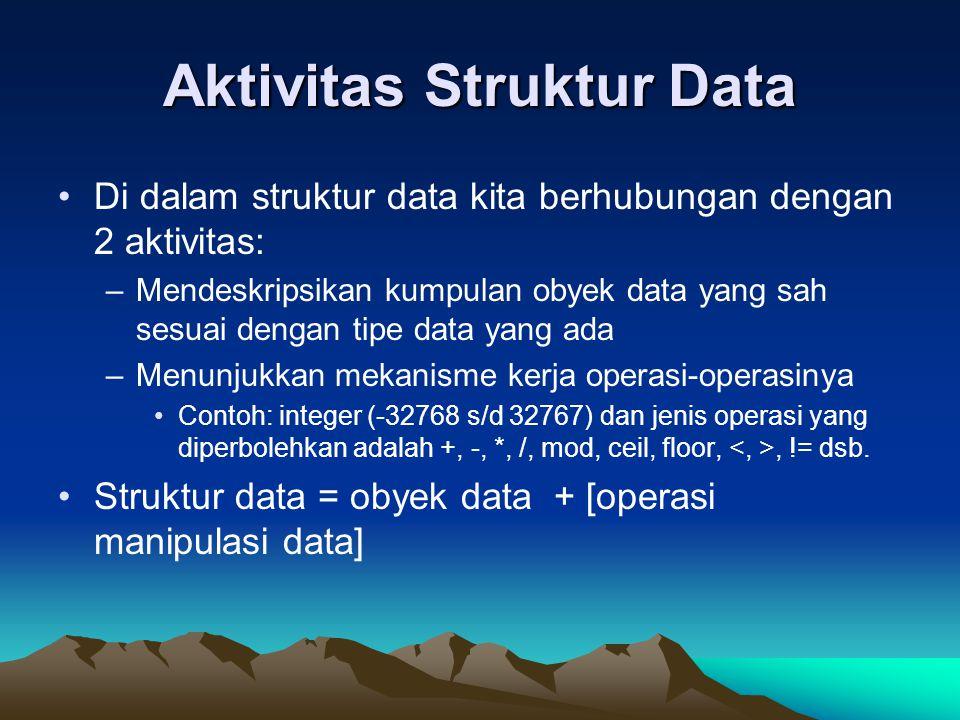Aktivitas Struktur Data Di dalam struktur data kita berhubungan dengan 2 aktivitas: –Mendeskripsikan kumpulan obyek data yang sah sesuai dengan tipe d