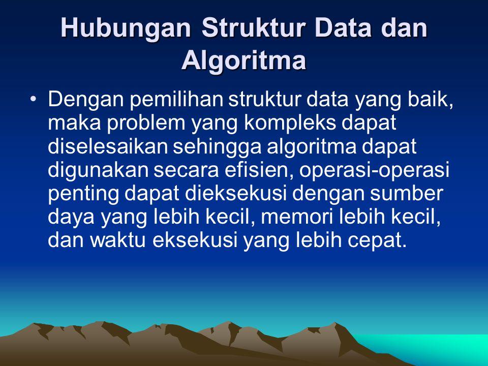 Hubungan Struktur Data dan Algoritma Dengan pemilihan struktur data yang baik, maka problem yang kompleks dapat diselesaikan sehingga algoritma dapat