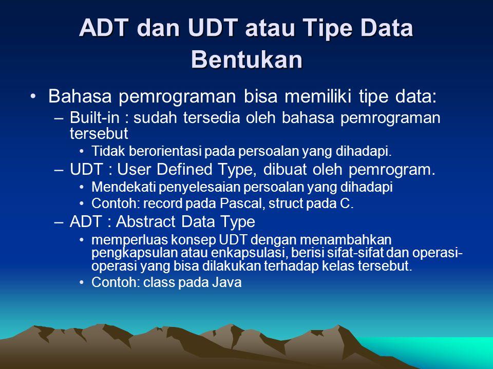 ADT dan UDT atau Tipe Data Bentukan Bahasa pemrograman bisa memiliki tipe data: –Built-in : sudah tersedia oleh bahasa pemrograman tersebut Tidak bero