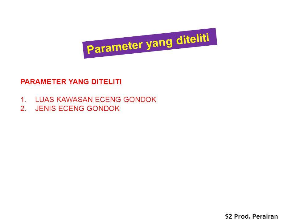 PARAMETER YANG DITELITI 1.LUAS KAWASAN ECENG GONDOK 2.JENIS ECENG GONDOK Parameter yang diteliti S2 Prod.