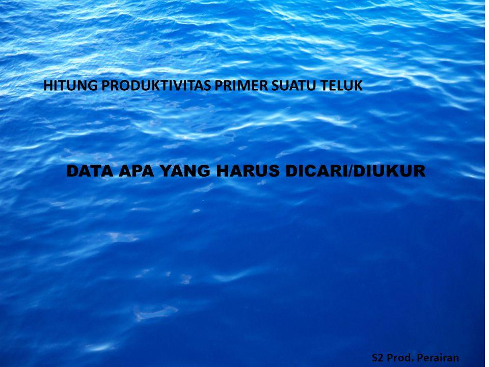 HITUNG PRODUKTIVITAS PRIMER SUATU TELUK DATA APA YANG HARUS DICARI/DIUKUR S2 Prod. Perairan