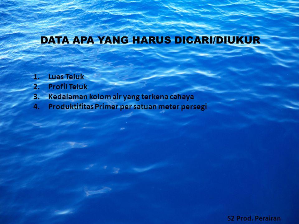 DATA APA YANG HARUS DICARI/DIUKUR 1.Luas Teluk 2.Profil Teluk 3.Kedalaman kolom air yang terkena cahaya 4.Produktifitas Primer per satuan meter persegi S2 Prod.