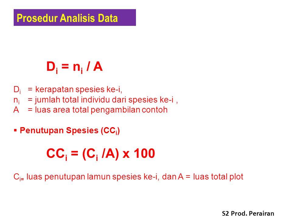  Kerapatan Spesies (D i ) D i = n i / A D i =kerapatan spesies ke-i, n i = jumlah total individu dari spesies ke-i, A = luas area total pengambilan contoh  Penutupan Spesies (CC i ) CC i = (C i /A) x 100 C i= luas penutupan lamun spesies ke-i, dan A = luas total plot Prosedur Analisis Data S2 Prod.