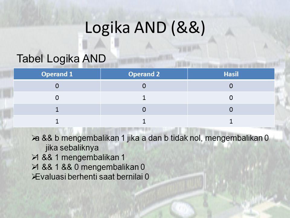 Logika AND (&&) Tabel Logika AND  a && b mengembalikan 1 jika a dan b tidak nol, mengembalikan 0 jika sebaliknya  1 && 1 mengembalikan 1  1 && 1 &&