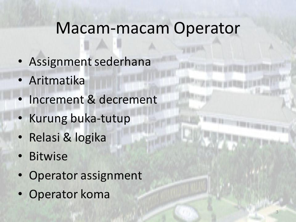 Macam-macam Operator Assignment sederhana Aritmatika Increment & decrement Kurung buka-tutup Relasi & logika Bitwise Operator assignment Operator koma