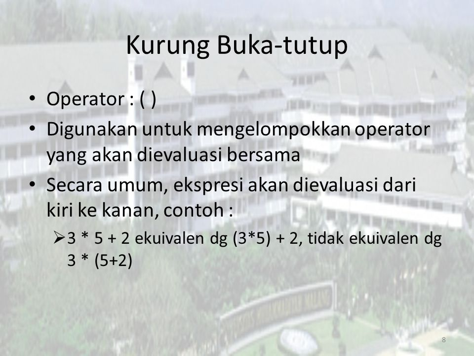 Operator Bitwise Bitwise XOR : ^ – Ekspresi 9 ^ 3 bernilai 1010 – Bernilai 1 jika satu operan bernilai 1 dan lainnya bernilai 0 Bitwise NOT : ~ – Membalik seluruh bit – ~10101 adalah 01010 19
