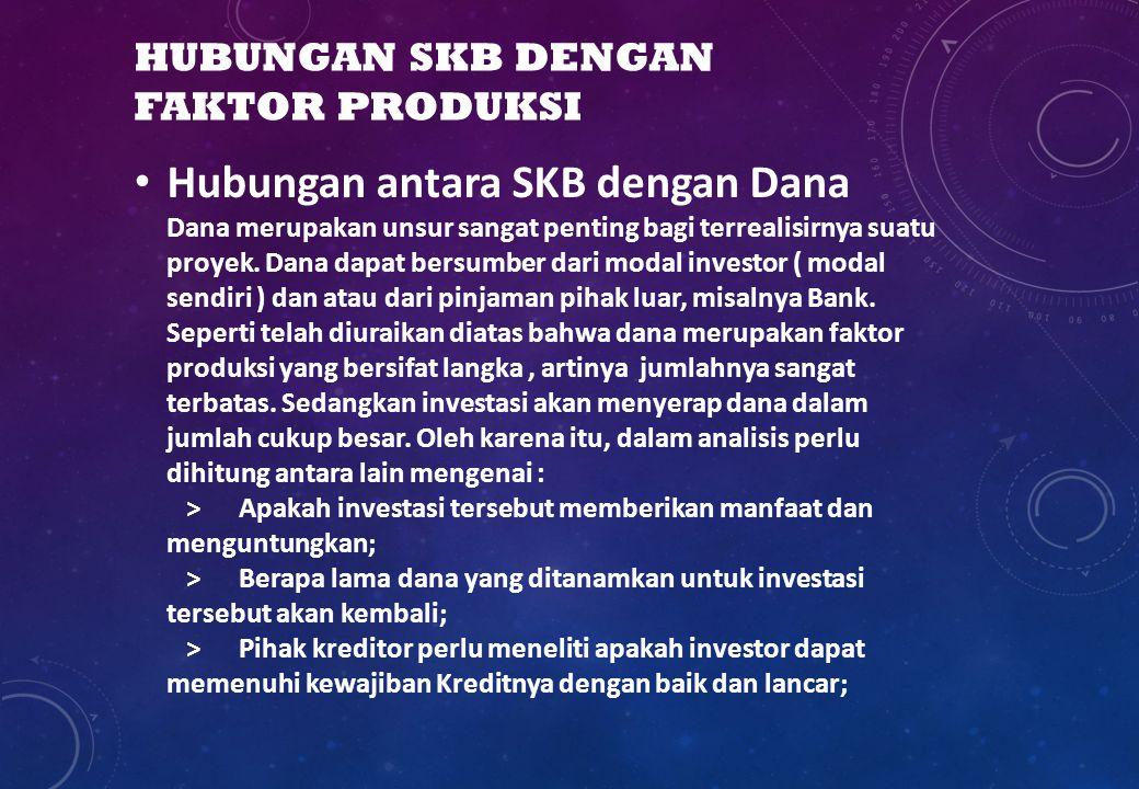 HUBUNGAN SKB DENGAN FAKTOR PRODUKSI Hubungan antara SKB dengan Dana Dana merupakan unsur sangat penting bagi terrealisirnya suatu proyek. Dana dapat b
