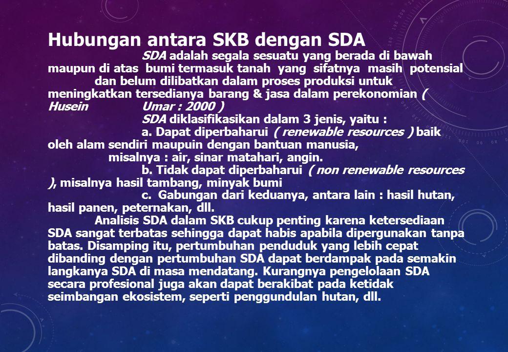 Hubungan antara SKB dengan SDA SDA adalah segala sesuatu yang berada di bawah maupun di atas bumi termasuk tanah yang sifatnya masih potensial dan bel