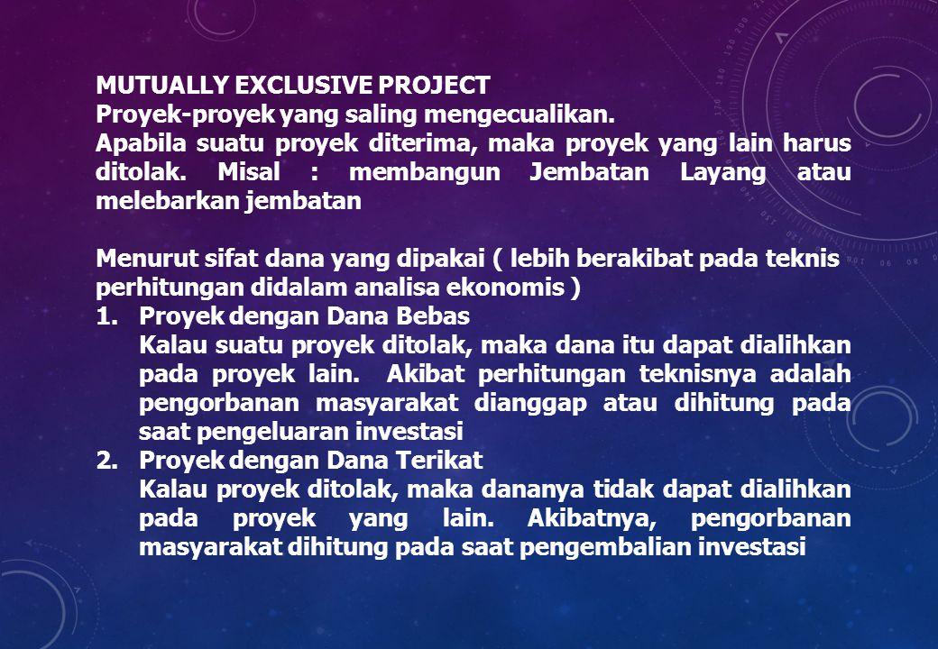 MUTUALLY EXCLUSIVE PROJECT Proyek-proyek yang saling mengecualikan. Apabila suatu proyek diterima, maka proyek yang lain harus ditolak. Misal : memban