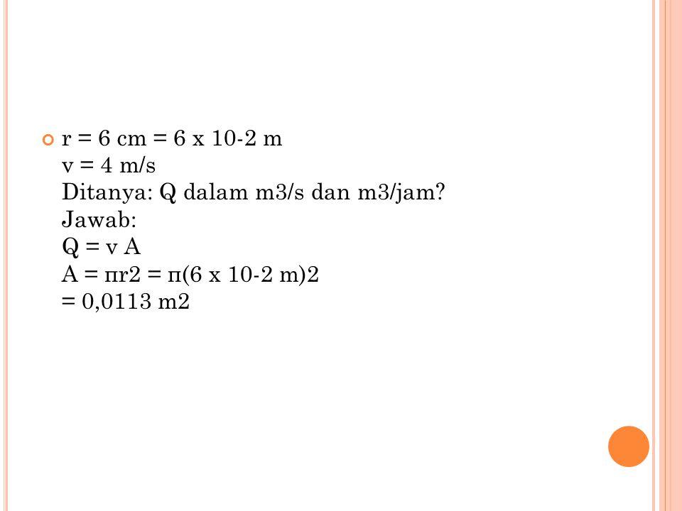 Sehingga, Q = v A = 4 m/s.