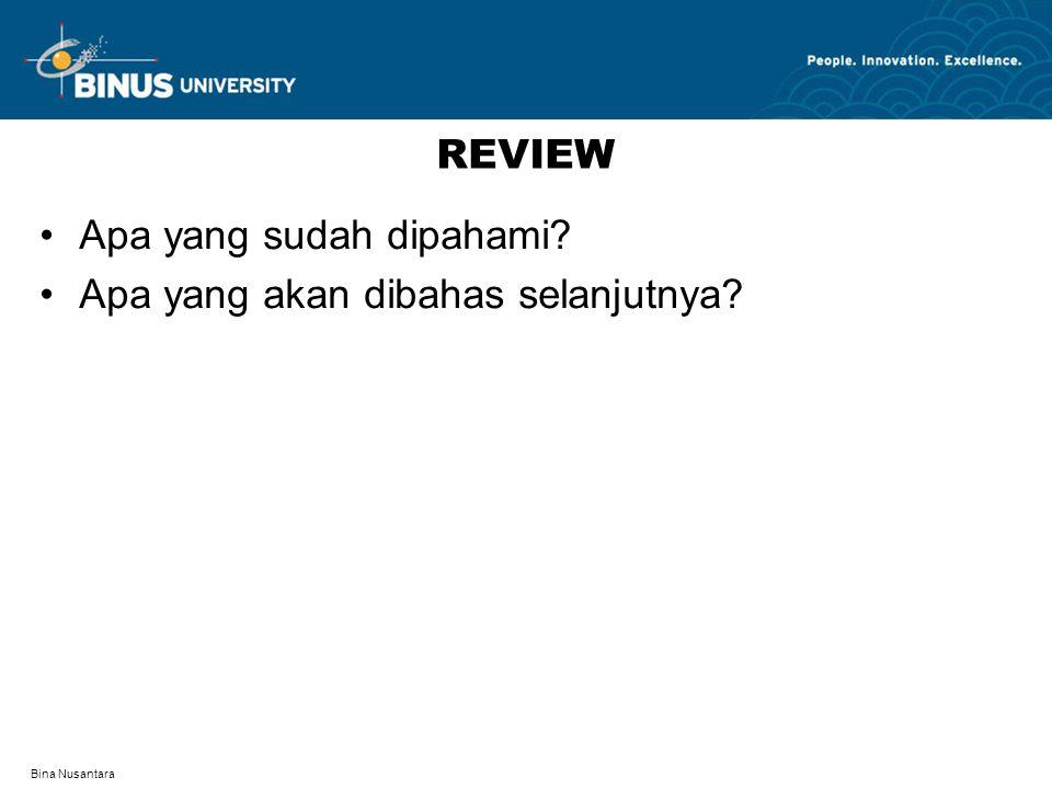 Bina Nusantara REVIEW Apa yang sudah dipahami Apa yang akan dibahas selanjutnya