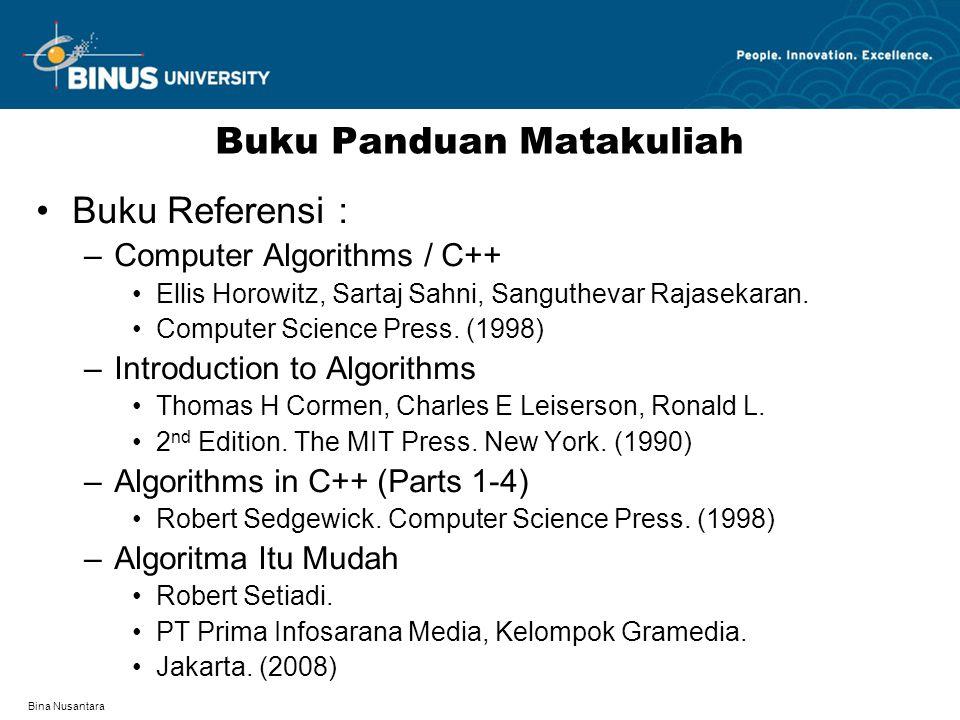 Bina Nusantara Buku Panduan Matakuliah Buku Referensi : –Computer Algorithms / C++ Ellis Horowitz, Sartaj Sahni, Sanguthevar Rajasekaran.