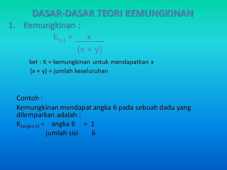 DASAR-DASAR TEORI KEMUNGKINAN 1.Kemungkinan : k (x) = x (x + y) ket : K = kemungkinan untuk mendapatkan x (x + y) = jumlah keseluruhan Contoh : Kemung