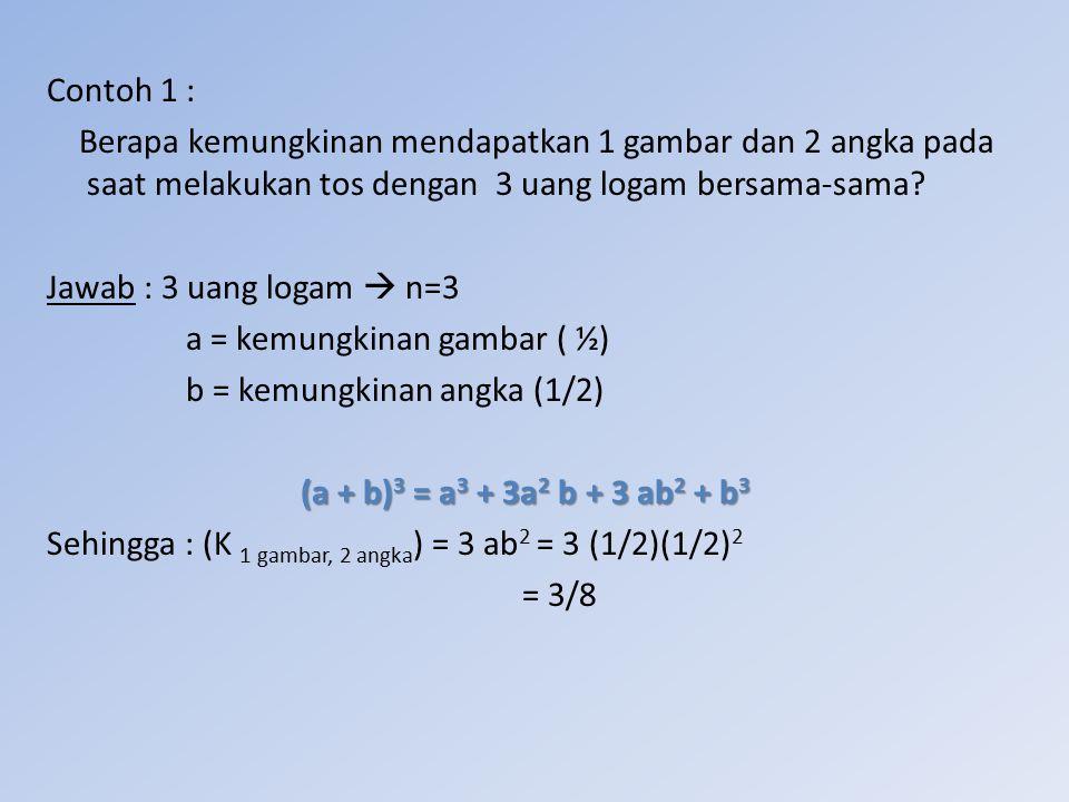Contoh 1 : Berapa kemungkinan mendapatkan 1 gambar dan 2 angka pada saat melakukan tos dengan 3 uang logam bersama-sama? Jawab : 3 uang logam  n=3 a