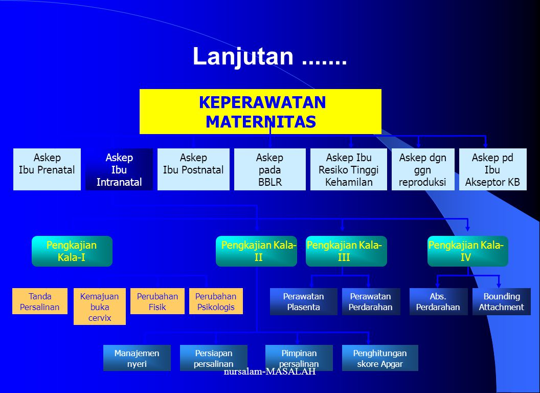 Lanjutan....... KEPERAWATAN MATERNITAS Askep Ibu Prenatal Askep Ibu Intranatal Askep Ibu Postnatal Askep pada BBLR Askep Ibu Resiko Tinggi Kehamilan A