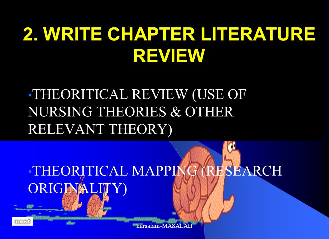 2. WRITE CHAPTER LITERATURE REVIEW THEORITICAL REVIEW (USE OF NURSING THEORIES & OTHER RELEVANT THEORY) THEORITICAL MAPPING (RESEARCH ORIGINALITY)