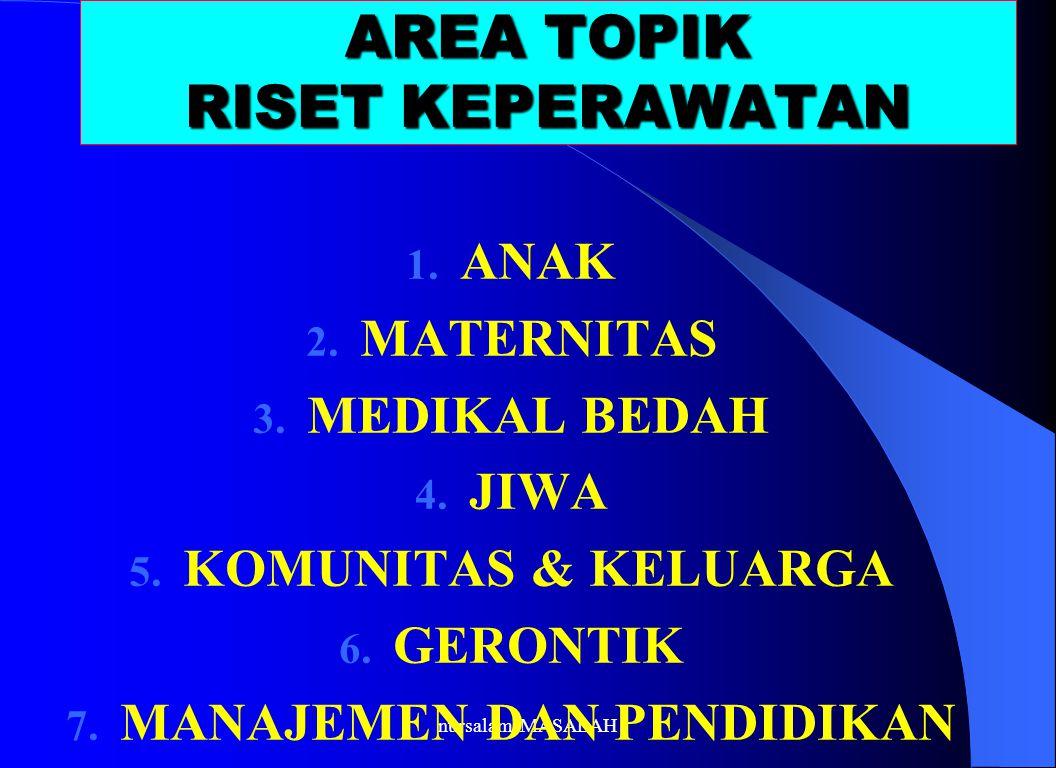 AREA TOPIK RISET KEPERAWATAN 1. ANAK 2. MATERNITAS 3. MEDIKAL BEDAH 4. JIWA 5. KOMUNITAS & KELUARGA 6. GERONTIK 7. MANAJEMEN DAN PENDIDIKAN