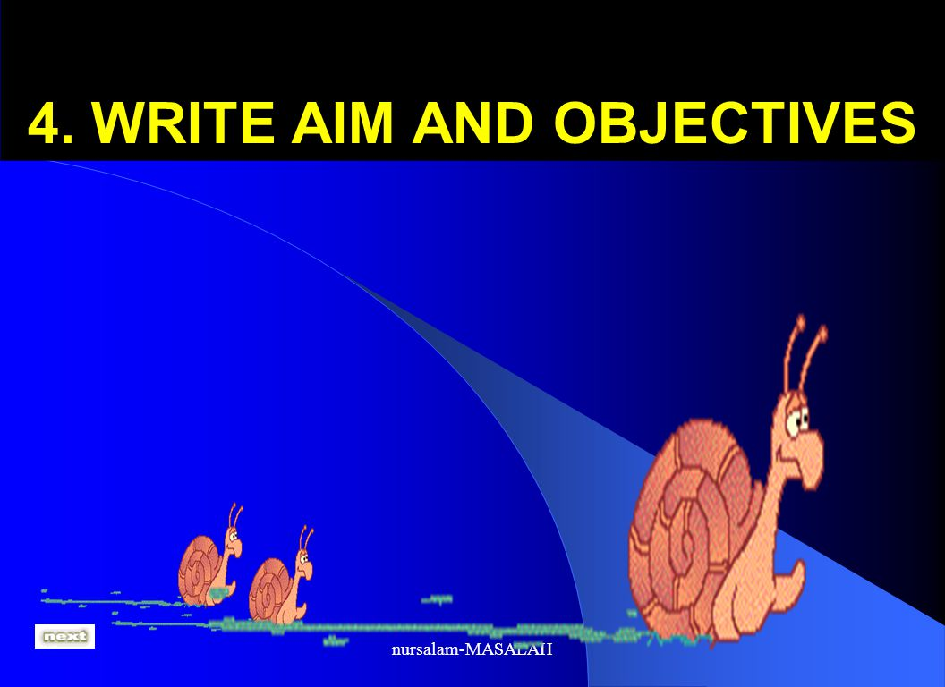 4. WRITE AIM AND OBJECTIVES