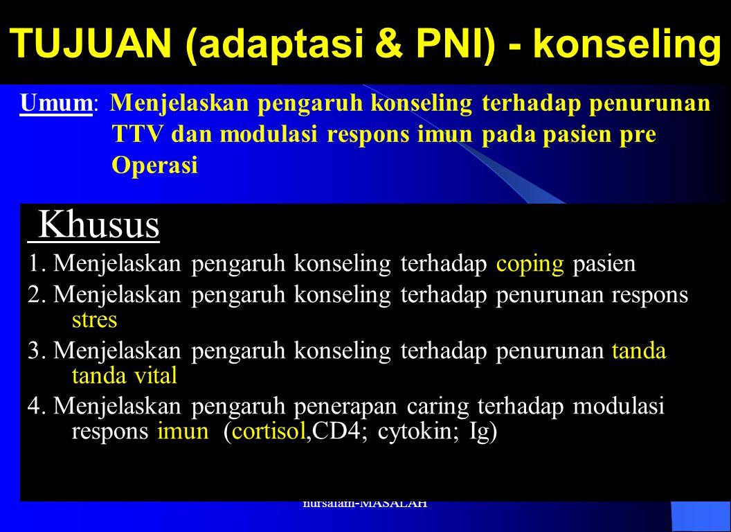 nursalam-MASALAH TUJUAN (adaptasi & PNI) - konseling Khusus 1. Menjelaskan pengaruh konseling terhadap coping pasien 2. Menjelaskan pengaruh konseling