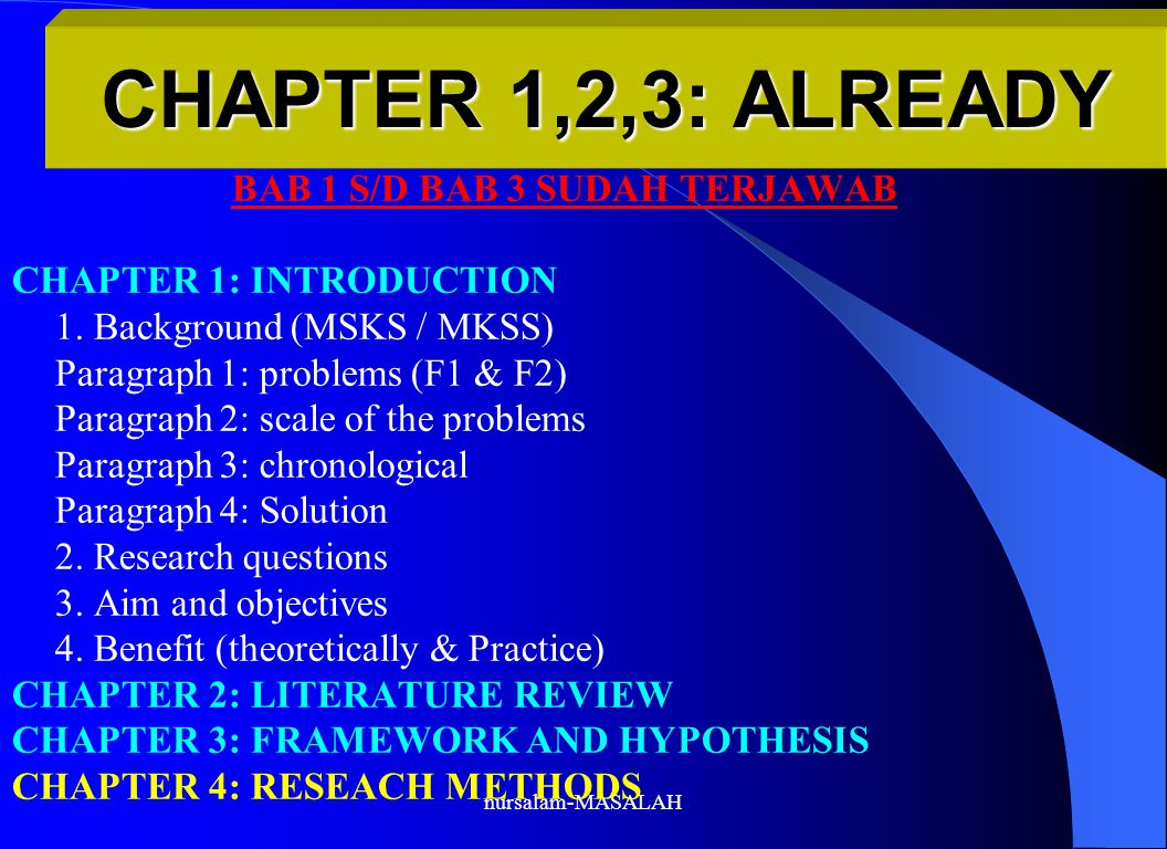 nursalam-MASALAH CHAPTER 1,2,3: ALREADY BAB 1 S/D BAB 3 SUDAH TERJAWAB CHAPTER 1: INTRODUCTION 1.
